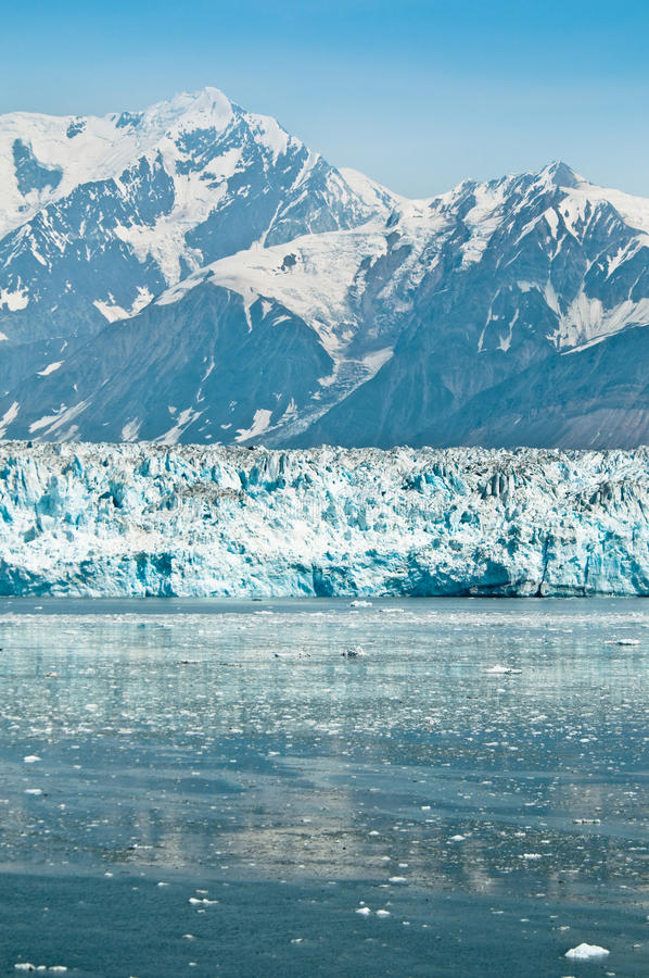 Hubbard Glacier, Alaska. Hubbard Glacier in Alaska. Small icebergs floating in the foreground royalty free stock images