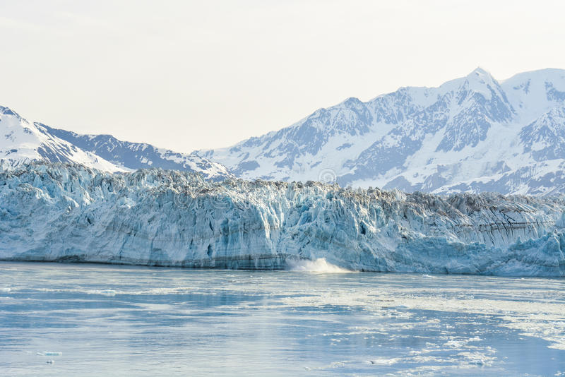 Hubbard Glacier in Alaska. Massive Hubbard Glacier in Alaska is the only glacier in the world that is still growing, but when it melts you can see chunks of ice stock image
