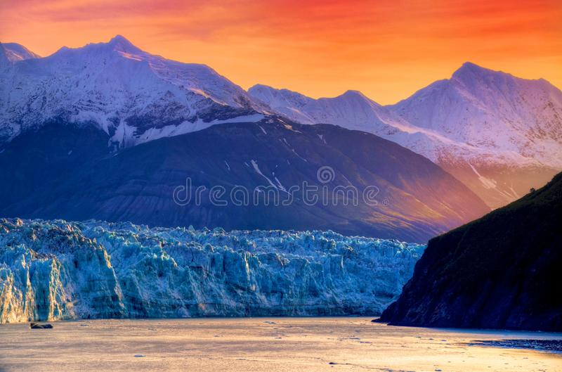Hubbard Glacier Alaska. Sunrise at Hubbard Glacier Alaska stock photo