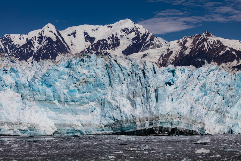 Hubbard Glacier and Floating Ice. Hubbard Glacier in Disenchantment Bay, Alaska stock photos