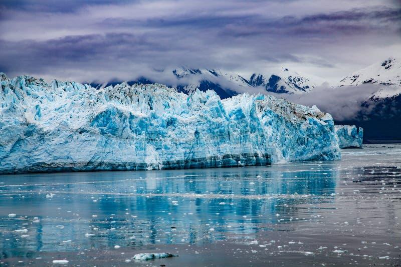 Hubbard Glacier Under Storm Clouds. Hubbard Glacier in Alaska under Cloudy Skies stock image