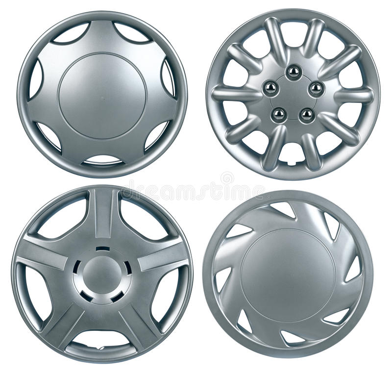 Hubcap isolated. New plastic hubcap isolated on white background royalty free stock photo
