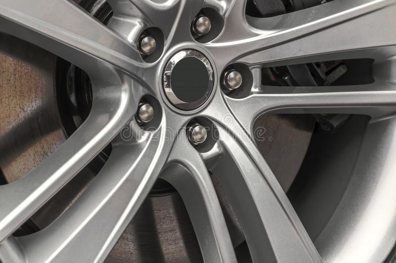 Hubcap of a jaguar car. Close up of a hubcap of a jaguar car royalty free stock photo
