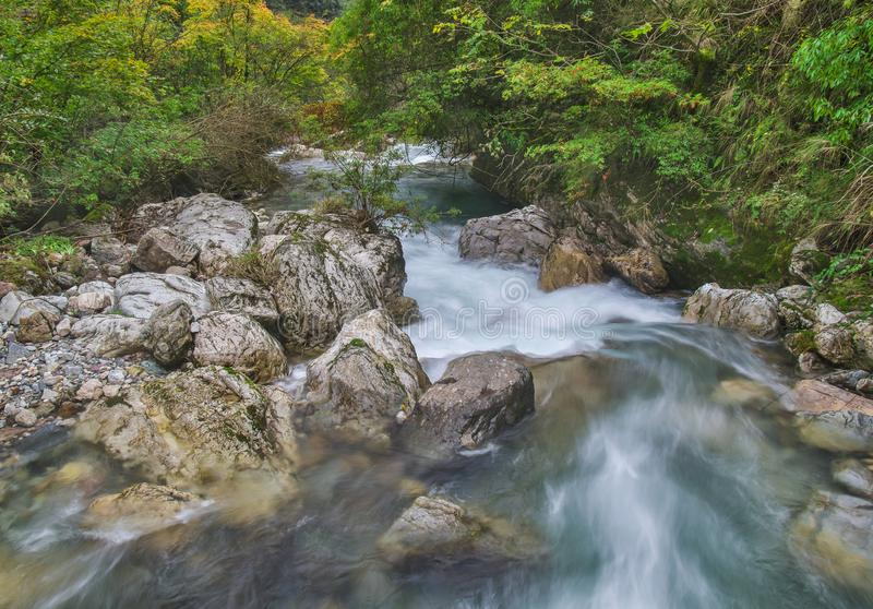 ShenNongJia Tiansheng bridge waterfall and stream. Hubei shennongjia scenic spot.Shennongjia forest region: to manifest the precious value of ecological royalty free stock photography