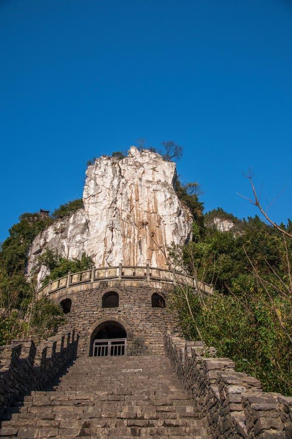 Hubei Yiling le fleuve Yangtze Three Gorges Dengying Gap dans le premier dieu chinois a appelé la roche - marque en pierre images libres de droits