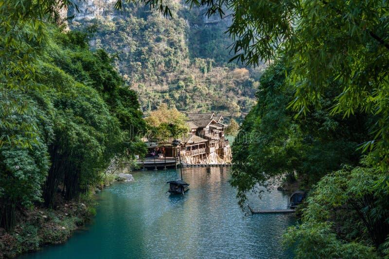 Hubei Yiling o Rio Yangtzé Three Gorges Dengyingxia em Longxi fotos de stock royalty free