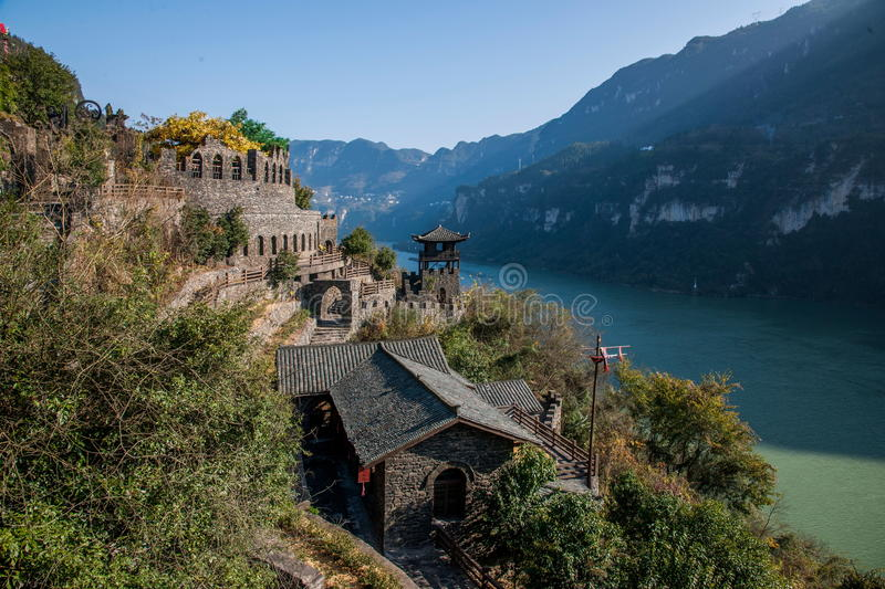 Hubei Yiling Yangtze River Three Gorges Dengying Xia in the `Three Gorges people` Ba Wang cottage stock photography