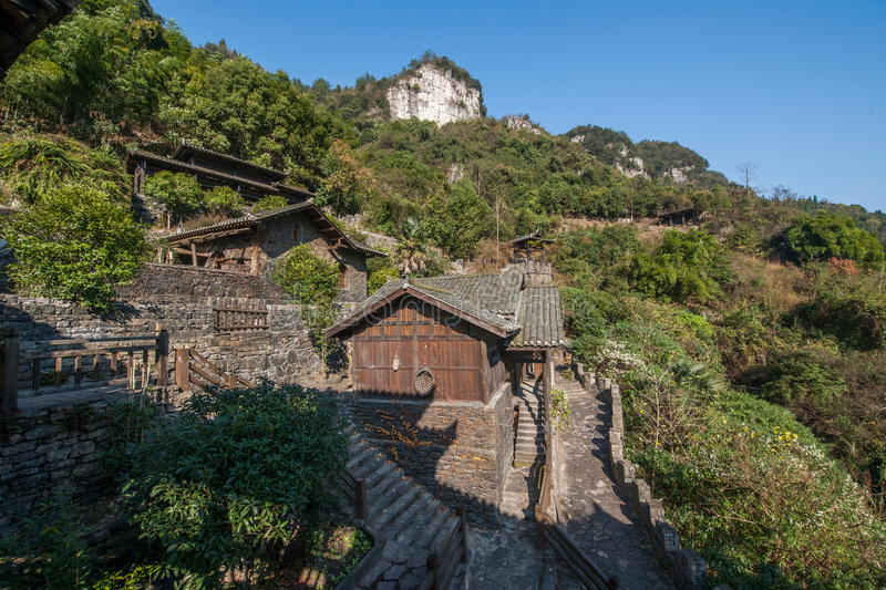 Hubei Yiling Yangtze River Three Gorges Dengying Xia in the `Three Gorges people` Ba Wang cottage royalty free stock photo