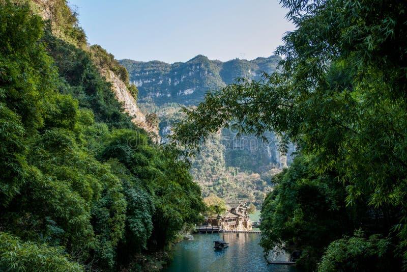Hubei Yiling Yangtze River Three Gorges Dengyingxia i Longxi arkivfoton