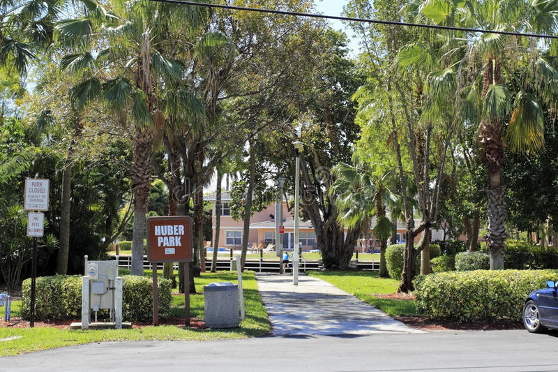 Huber Park and Sign. POMPANO BEACH, FLORIDA - MARCH 9, 2014: Huber Park or Lake Santa Barbara Park is a pocket park of 8700 square feet located at se 7th st and royalty free stock photo