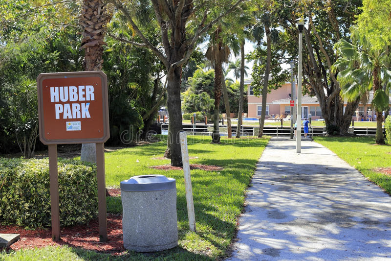 Huber Park Sign. POMPANO BEACH, FLORIDA - MARCH 9, 2014: Huber or Lake Santa Barbara Park is a very small park located at se 7th st and se 23rd av overlooking stock image