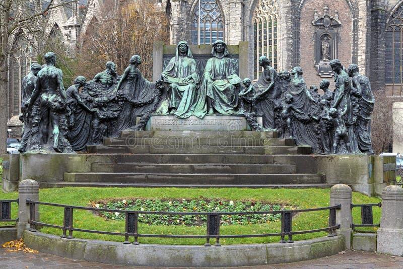 Hubert und Jan van Eyck Monument in Gent, Belgien stockfoto