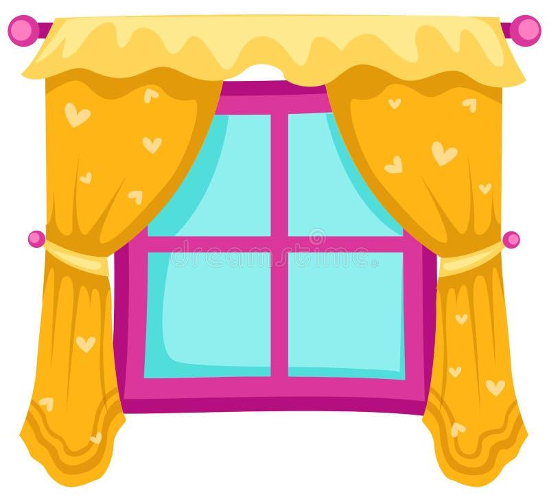 Hublot avec des rideaux illustration de vecteur