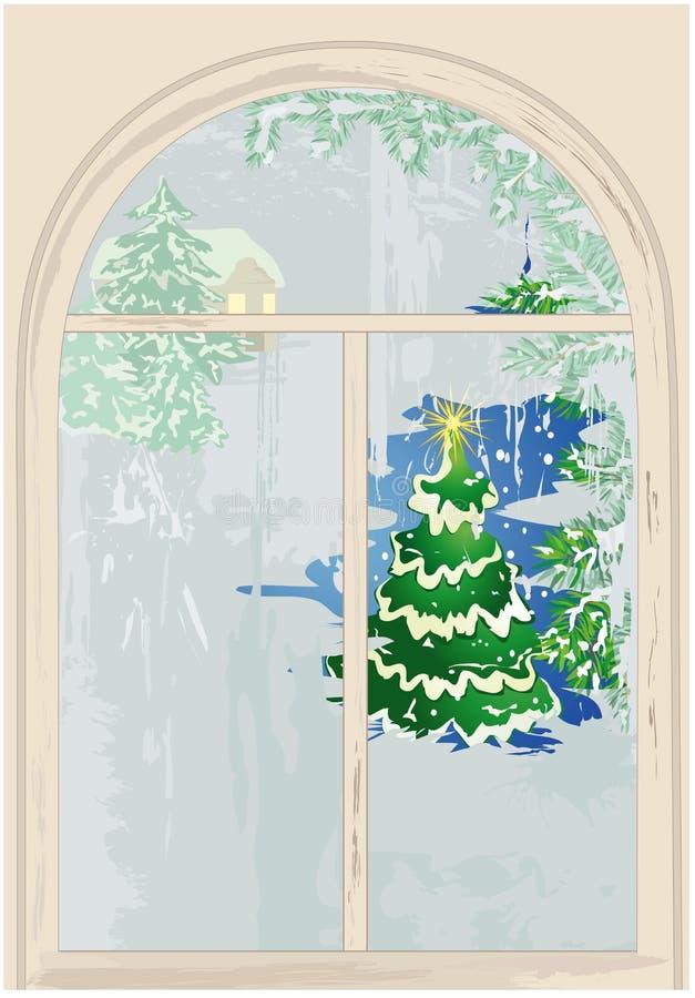Hublot avec l'arbre de Noël illustration de vecteur