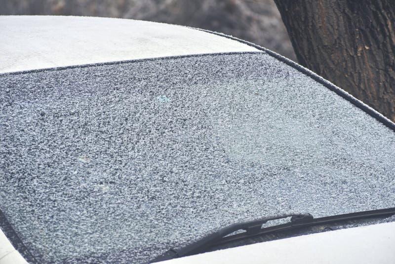 hublot congelé par véhicule photo stock