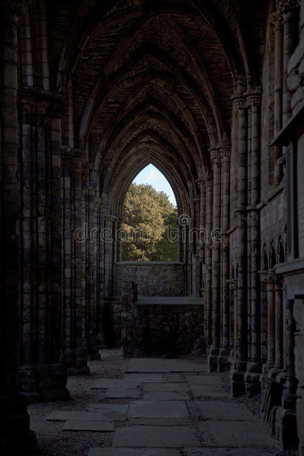 Hublot dans des ruines d'abbaye de Holyrood photos stock