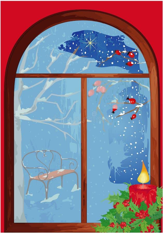 Hublot de Noël avec la bougie illustration libre de droits