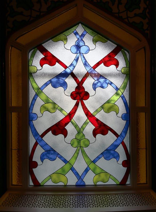Hublot de verre coloré 4 Mosquée de cathédrale de Moscou (intérieure), Russie photographie stock libre de droits