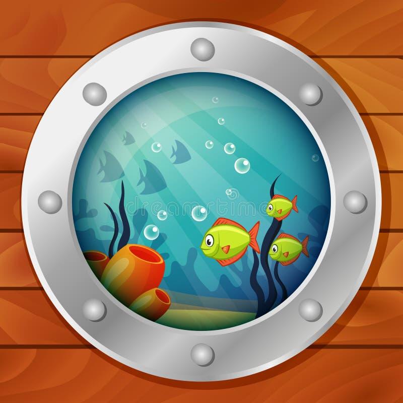 Hublot du bateau sous-marin Vue de sous-marin Monde sous-marin de mer illustration stock