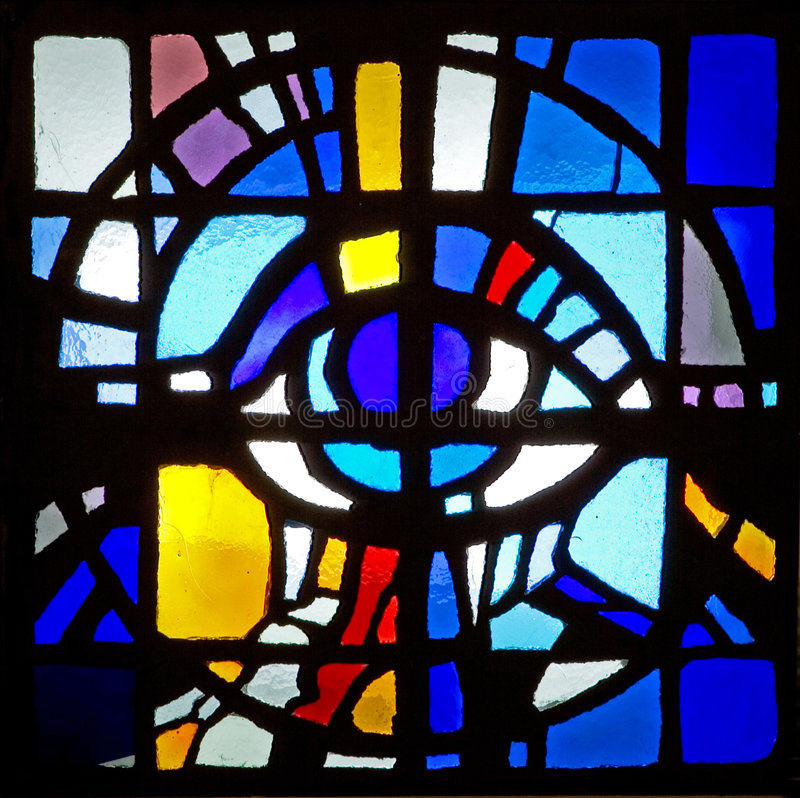 Hublot en verre souillé de mosaïque colorée de plafond photos libres de droits