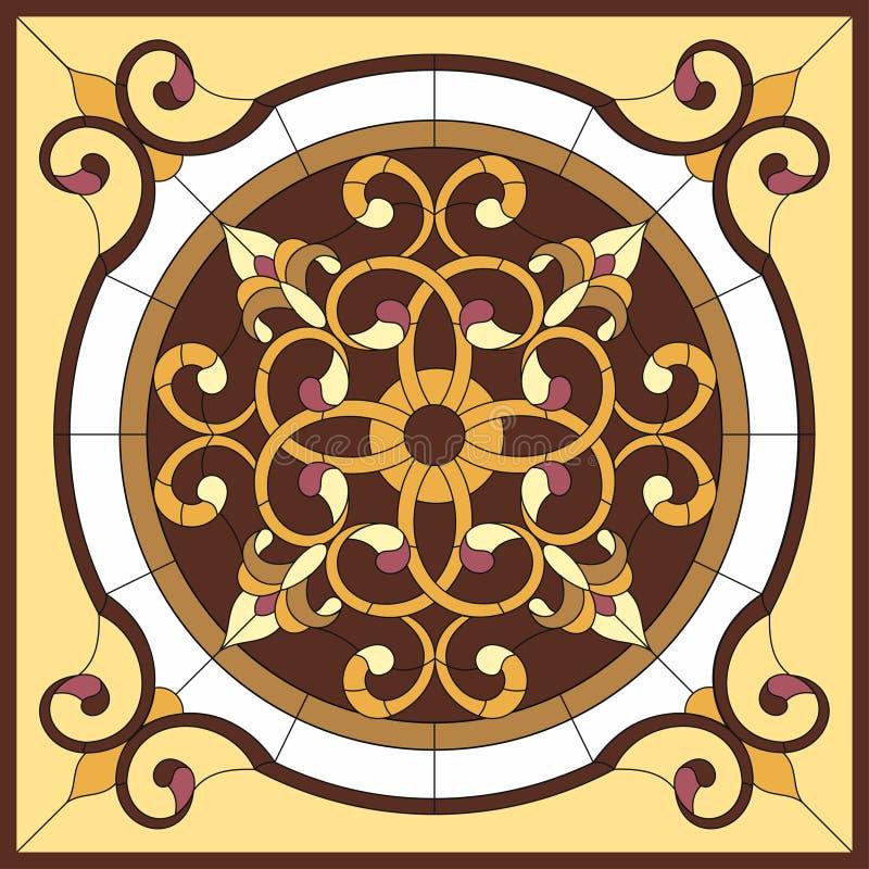 Hublot en verre souillé 6 Fleur abstraite dans le cadre carré, géométrique, fenêtre sur le plafond dans le cadre carré, compositi illustration stock
