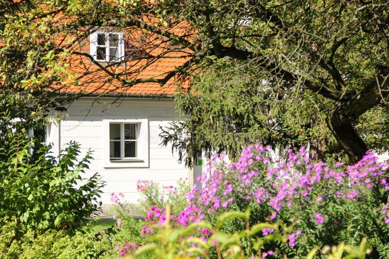 Hublots de cottage entourés par la végétation. La Pologne photos stock