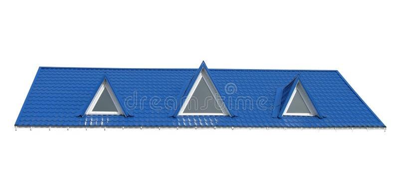 Hublots de triangle, toit de tuile d'isolement sur le blanc, photos libres de droits