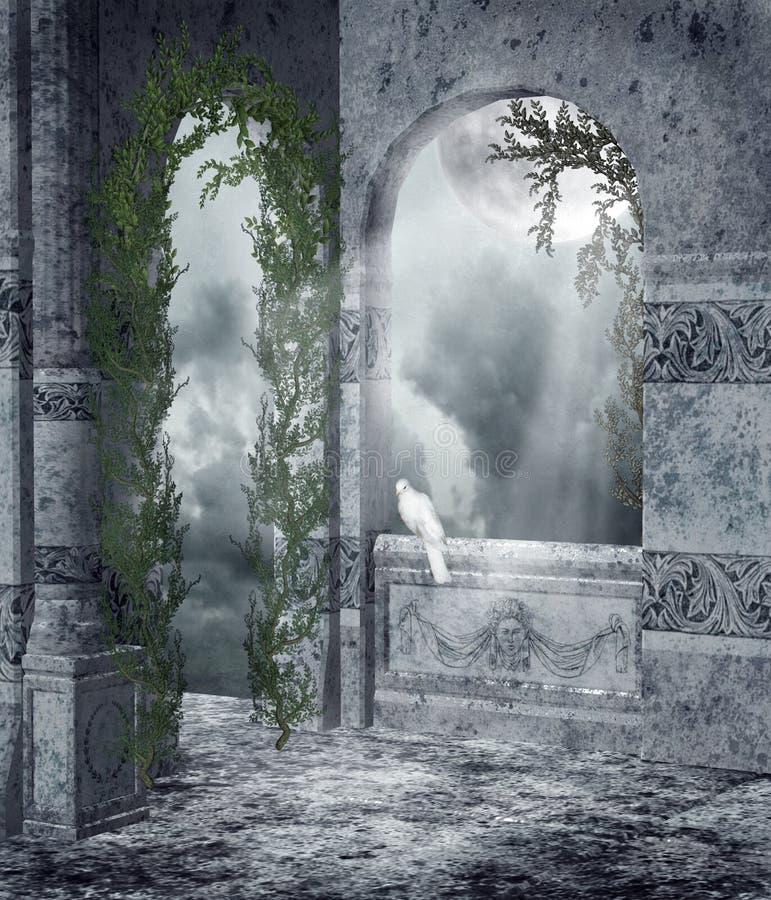 Hublots gothiques avec des vignes illustration stock