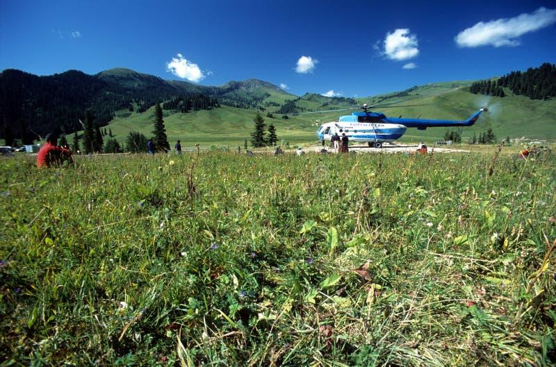Hubschrauber-Landeplatz auf Karkara niedrigem Lager stockfoto