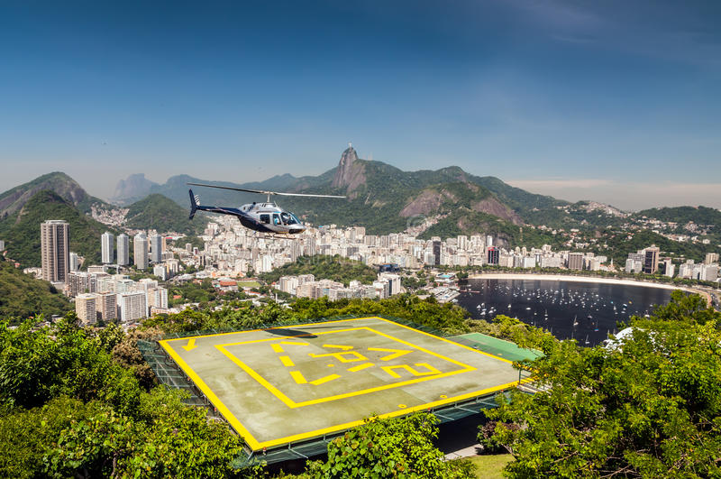 Hubschrauber-Landeplatz, Botafogo Schacht, Rio de Janeiro, Brasilien stockfotografie