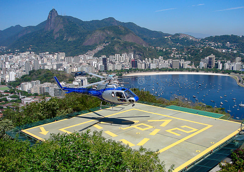 Hubschrauber-Landeplatz in Rio de Janeiro lizenzfreie stockbilder