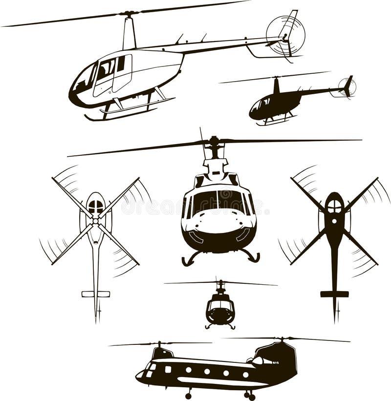 Hubschrauber, Satz, Vektorillustration, Ikone, Symbol, Monogramm, lokalisiert, Schattenbild vektor abbildung