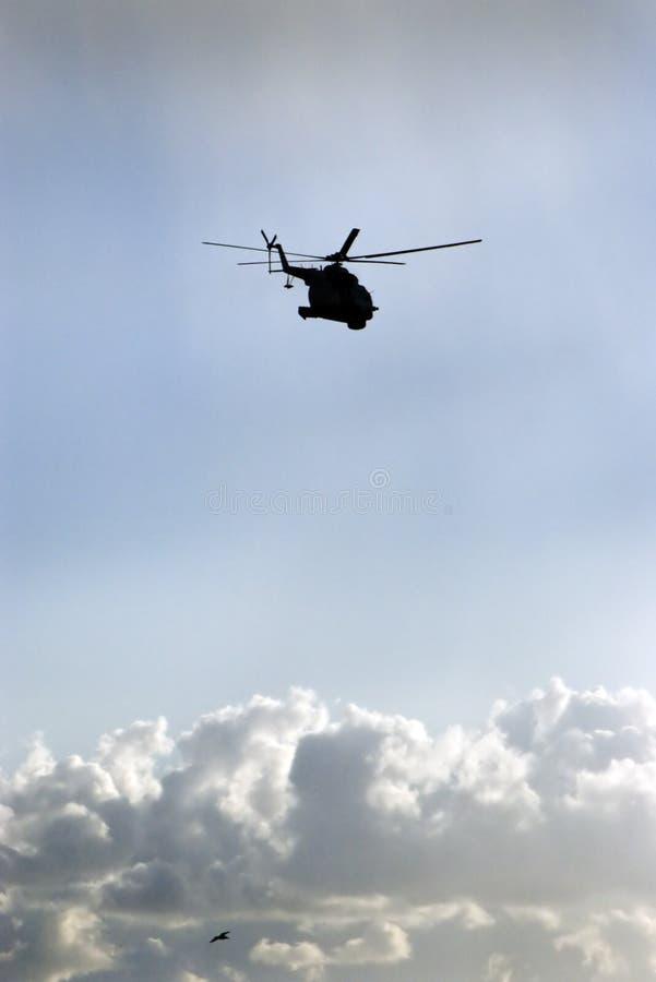 Hubschrauber und Vogel lizenzfreies stockbild