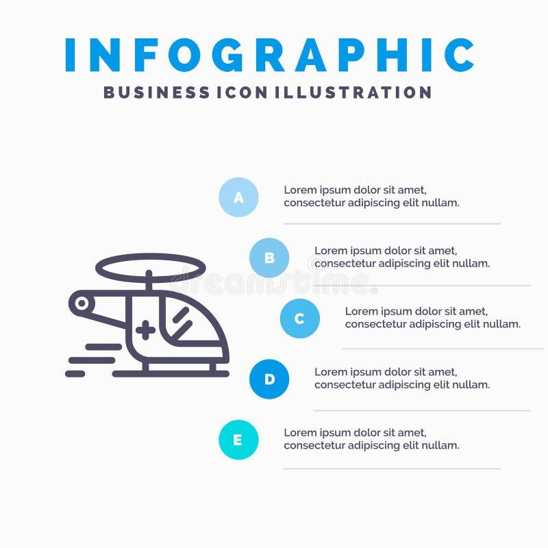 Hubschrauber, Zerhacker, medizinisch, Krankenwagen, Luftverkehrslinie Ikone mit Hintergrund infographics Darstellung mit 5 Schrit vektor abbildung