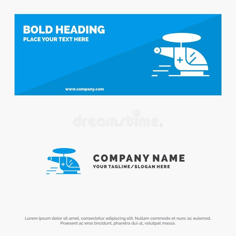 Hubschrauber, Zerhacker, medizinisches, Krankenwagen, luftsolide Ikonen-Website-Fahne und Geschäft Logo Template lizenzfreie abbildung