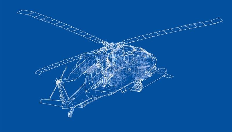 Hubschrauberentwurf Militärische Ausrüstung vektor abbildung