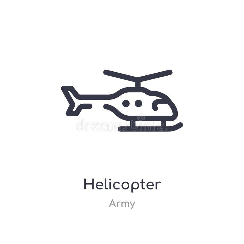 Hubschrauberentwurfsikone lokalisierte Linie Vektorillustration von der Armeesammlung editable Haarstrichhubschrauberikone auf We vektor abbildung