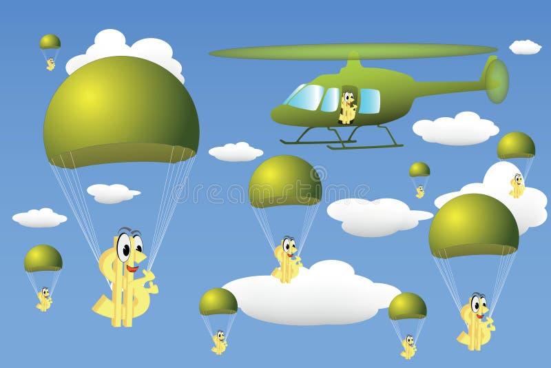 Hubschraubertropfen des Geldes lizenzfreie abbildung