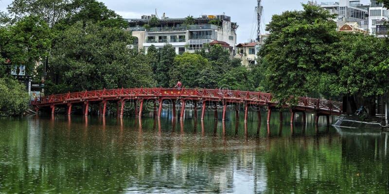 Huc Bridge in the Ngoc Son Temple, Hanoi. royalty free stock images
