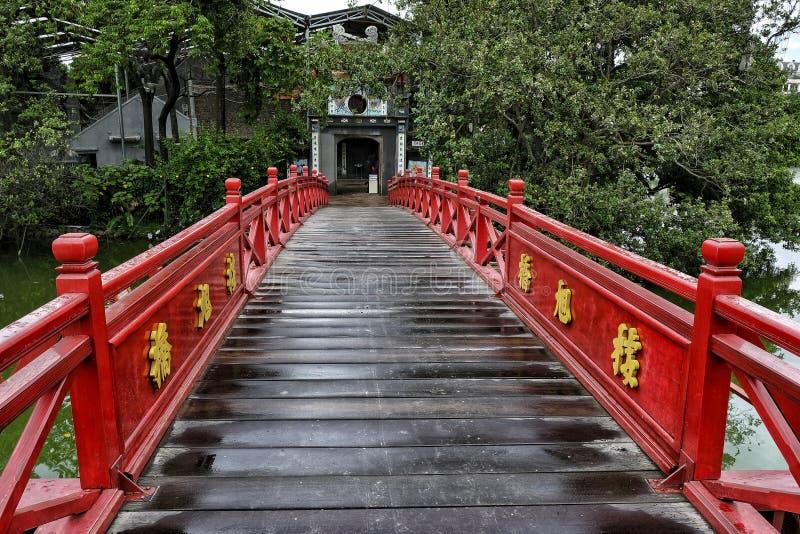 Huc Bridge in the Ngoc Son Temple, Hanoi. stock images