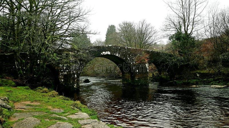 Huccaby most & x28; Hexworthy Bridge& x29; , Devon zdjęcie stock