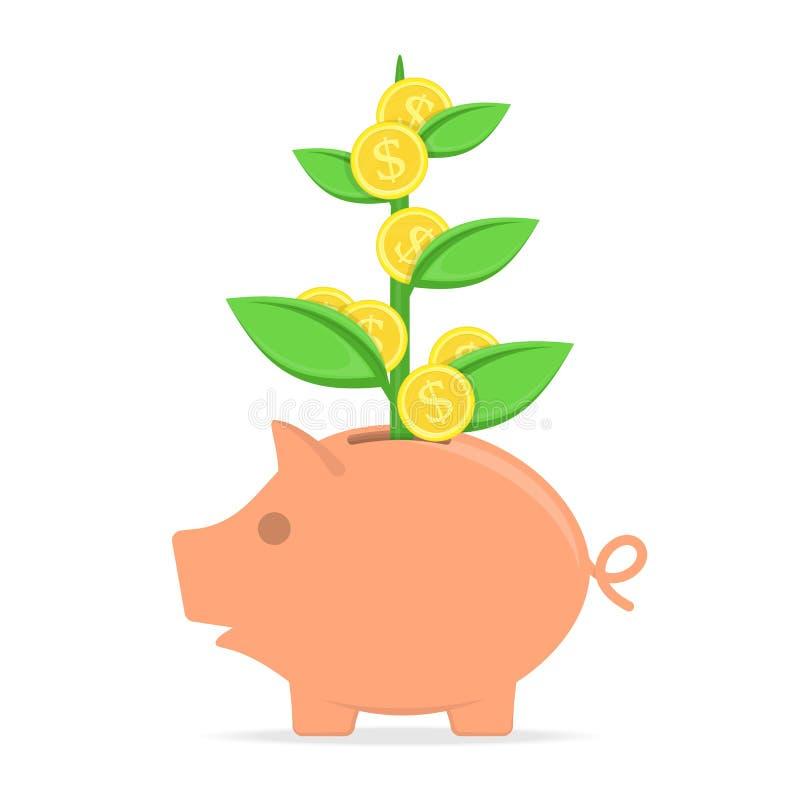 Hucha con el árbol de la moneda stock de ilustración