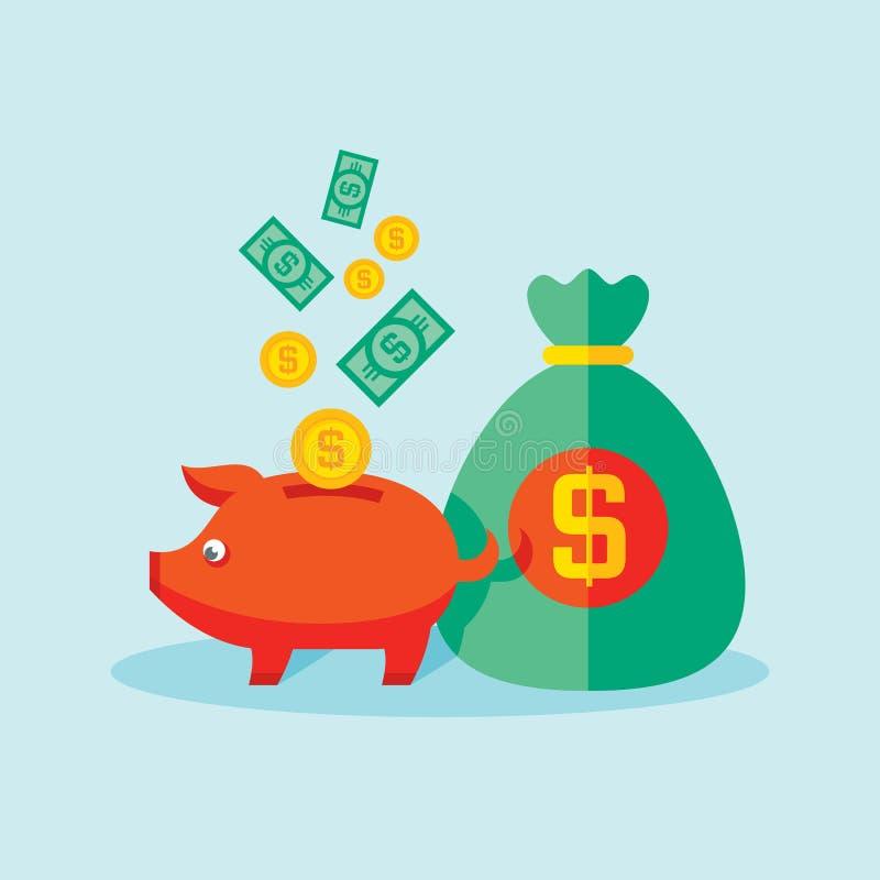 Hucha con el dinero del dólar - ejemplo del vector en estilo plano Bandera rica del concepto Ahorro e inversión de la disposición stock de ilustración