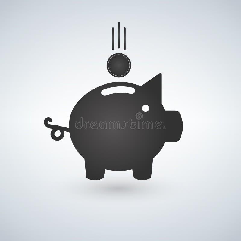 Hucha con el ejemplo de la moneda Ahorro o acumulación de dinero, inversión del icono Hucha en un estilo plano, isola del icono libre illustration