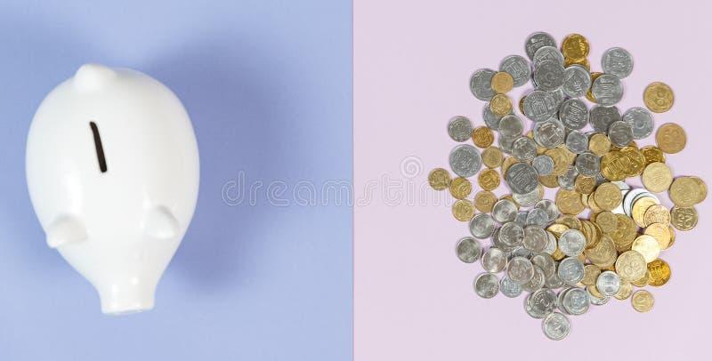 Hucha con las monedas del crecimiento imagenes de archivo