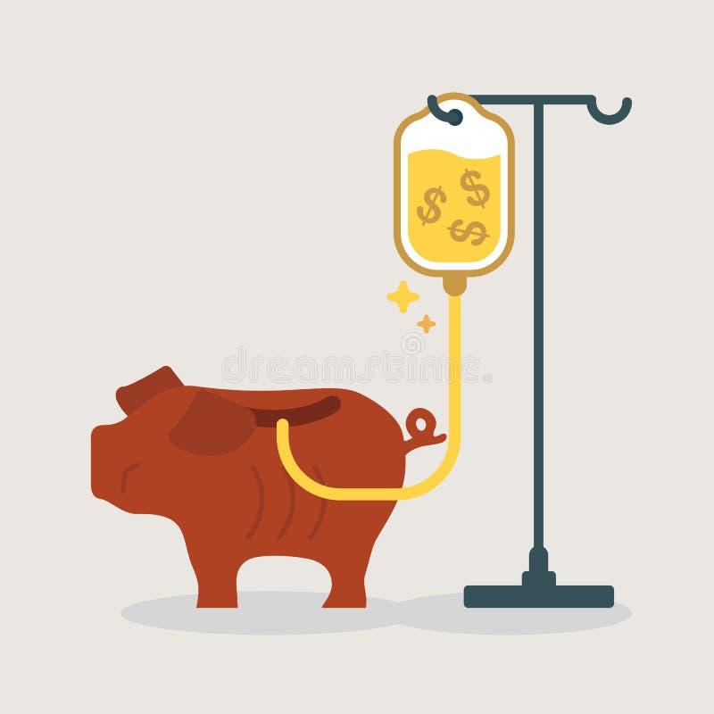 Hucha débil que consigue una transfusión del dinero stock de ilustración