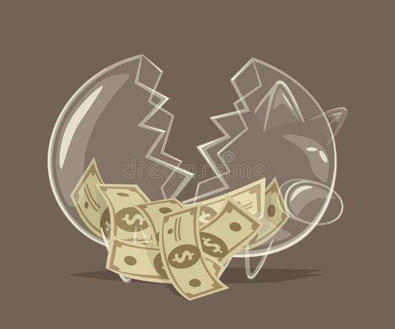 Hucha de cristal quebrada stock de ilustración