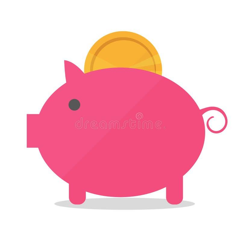 Hucha del cerdo con el ejemplo del vector de la moneda en estilo plano El concepto de dinero libre illustration