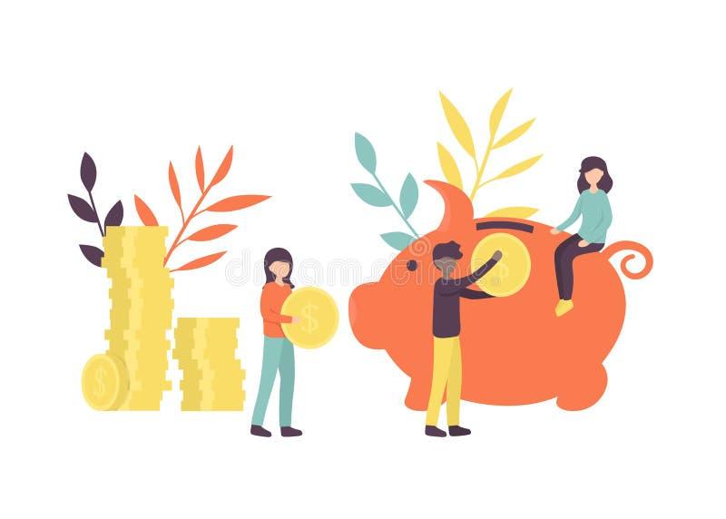 Hucha grande, monedas y pequeña gente stock de ilustración