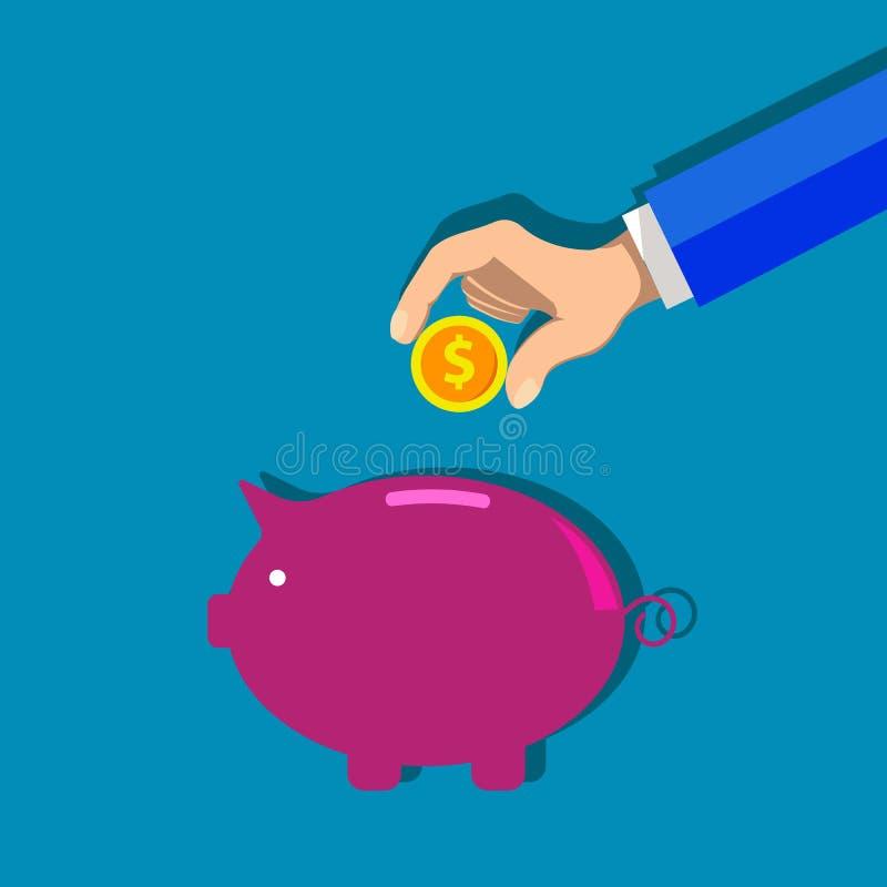 Hucha y mano con el ejemplo de la moneda del dólar Concepto de acumulación libre illustration